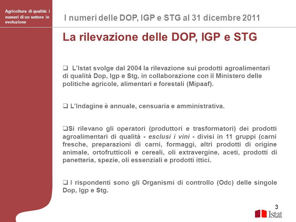 3 La rilevazione delle DOP, IGP e STG LIstat svolge dal 2004 la rilevazione sui prodotti agroalimentari di qualità Dop, Igp e Stg, in collaborazione c
