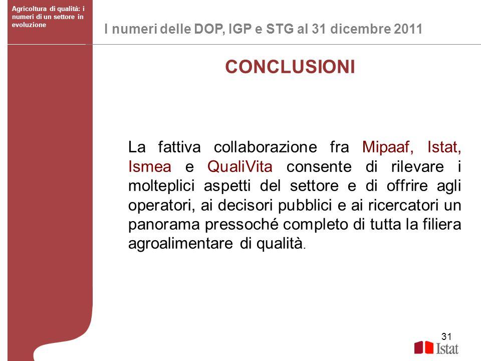 31 I numeri delle DOP, IGP e STG al 31 dicembre 2011 Agricoltura di qualità: i numeri di un settore in evoluzione CONCLUSIONI La fattiva collaborazion