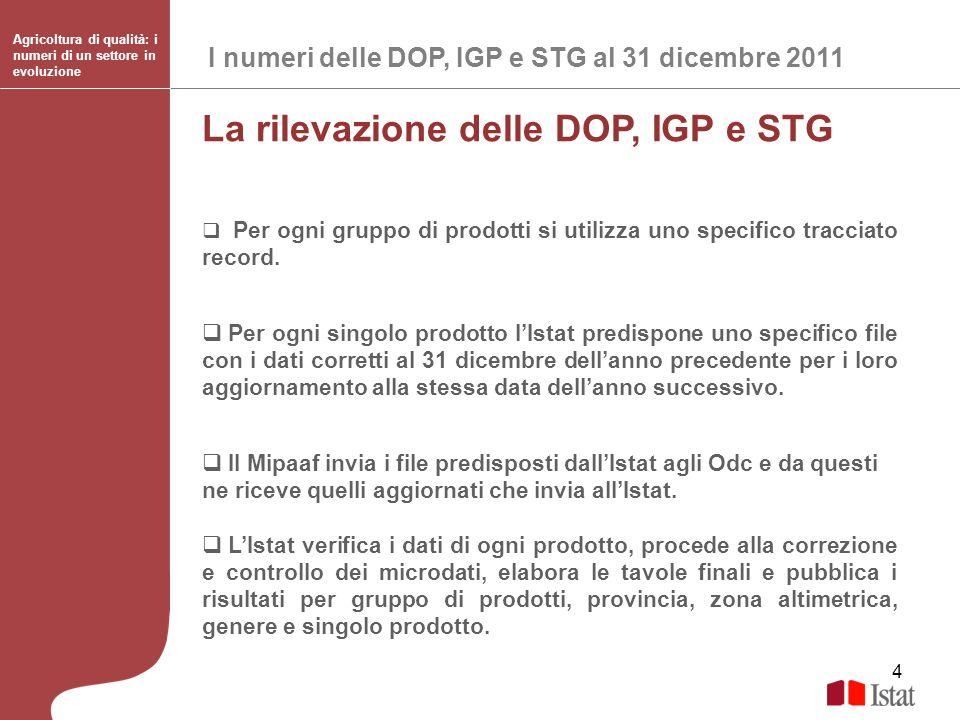 4 La rilevazione delle DOP, IGP e STG Per ogni gruppo di prodotti si utilizza uno specifico tracciato record. Per ogni singolo prodotto lIstat predisp