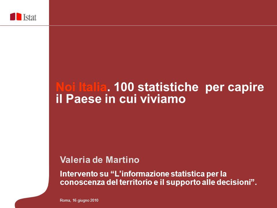Valeria de Martino Intervento su Linformazione statistica per la conoscenza del territorio e il supporto alle decisioni. Noi Italia. 100 statistiche p