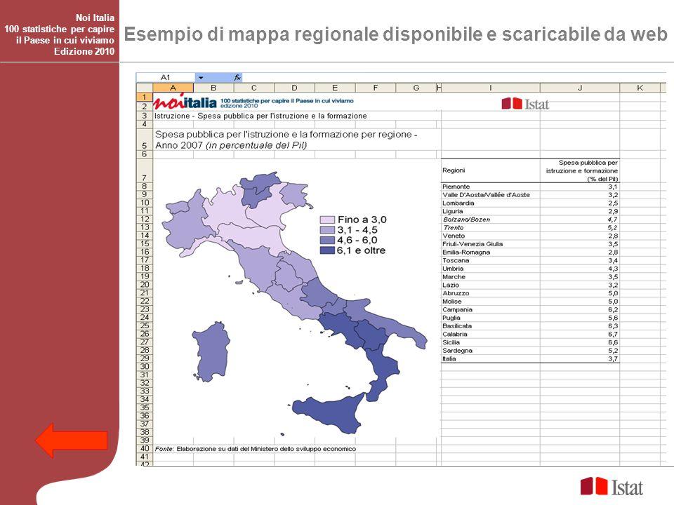 Esempio di mappa regionale disponibile e scaricabile da web Noi Italia 100 statistiche per capire il Paese in cui viviamo Edizione 2010