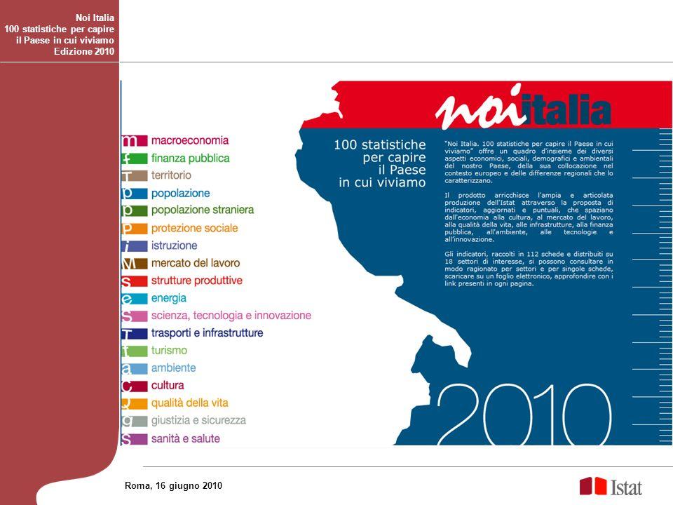 Noi Italia 100 statistiche per capire il Paese in cui viviamo Edizione 2010 Roma, 16 giugno 2010
