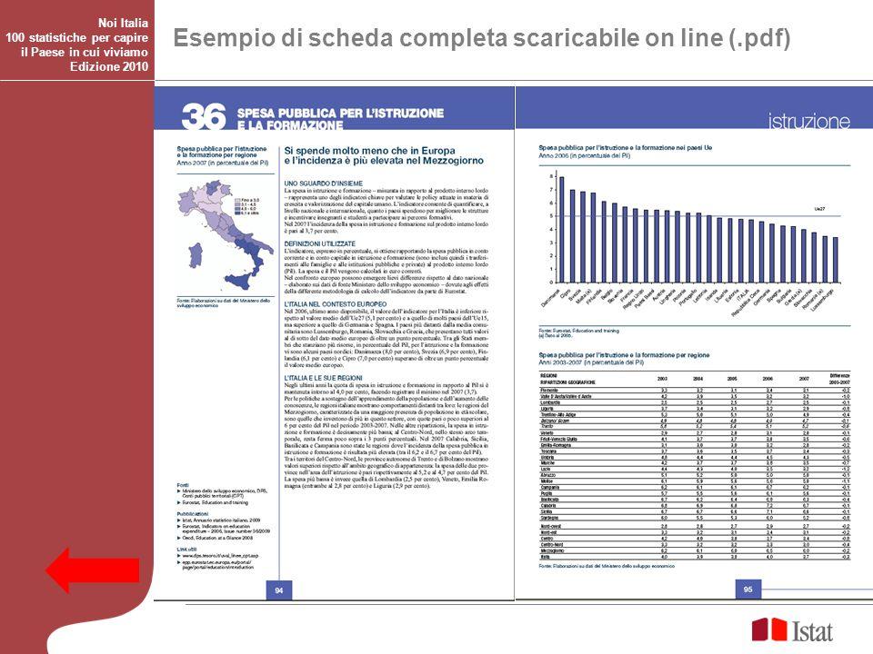 Esempio di scheda completa scaricabile on line (.pdf) Noi Italia 100 statistiche per capire il Paese in cui viviamo Edizione 2010