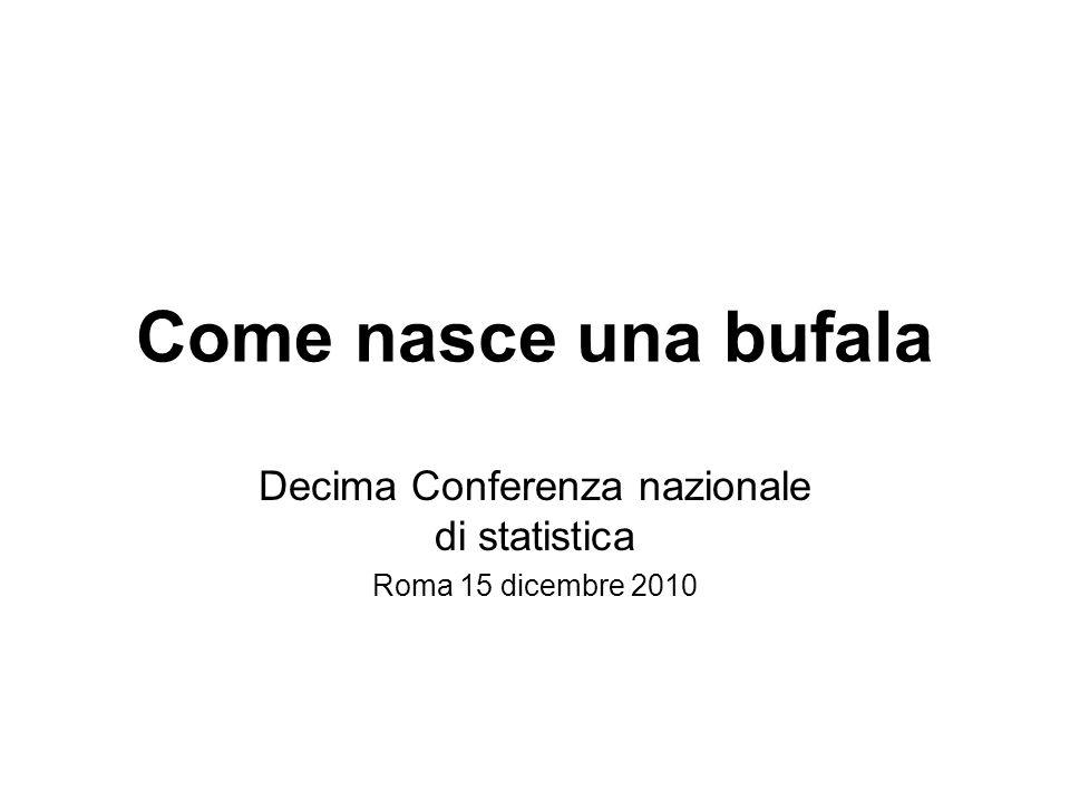 Come nasce una bufala Decima Conferenza nazionale di statistica Roma 15 dicembre 2010