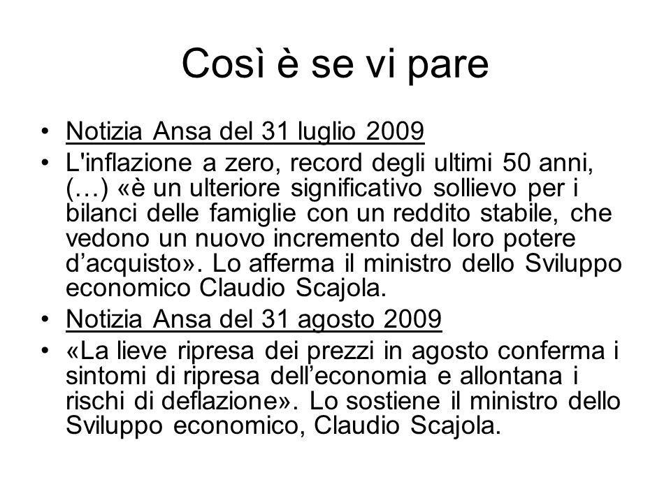 Così è se vi pare Notizia Ansa del 31 luglio 2009 L inflazione a zero, record degli ultimi 50 anni, (…) «è un ulteriore significativo sollievo per i bilanci delle famiglie con un reddito stabile, che vedono un nuovo incremento del loro potere dacquisto».