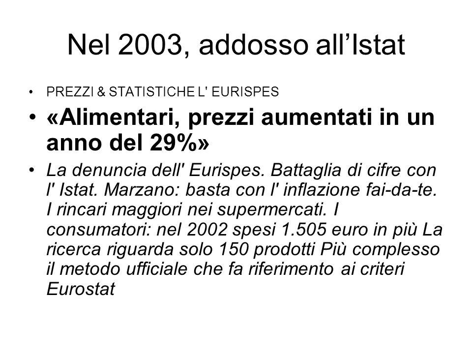 Nel 2003, addosso allIstat PREZZI & STATISTICHE L EURISPES «Alimentari, prezzi aumentati in un anno del 29%» La denuncia dell Eurispes.