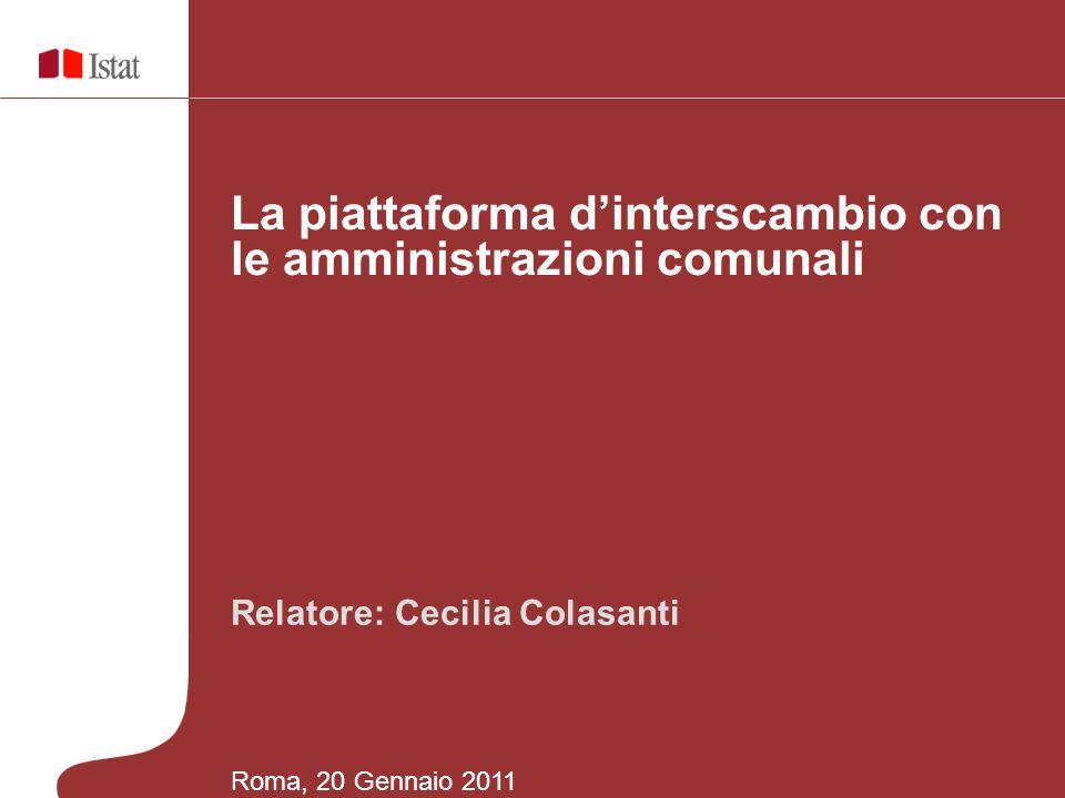 Relatore: Cecilia Colasanti La piattaforma dinterscambio con le amministrazioni comunali Roma, 20 Gennaio 2011