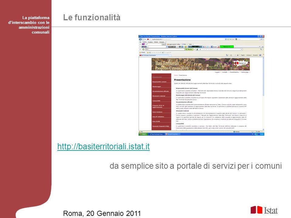 Le funzionalità La piattaforma dinterscambio con le amministrazioni comunali http://basiterritoriali.istat.it da semplice sito a portale di servizi per i comuni Roma, 20 Gennaio 2011