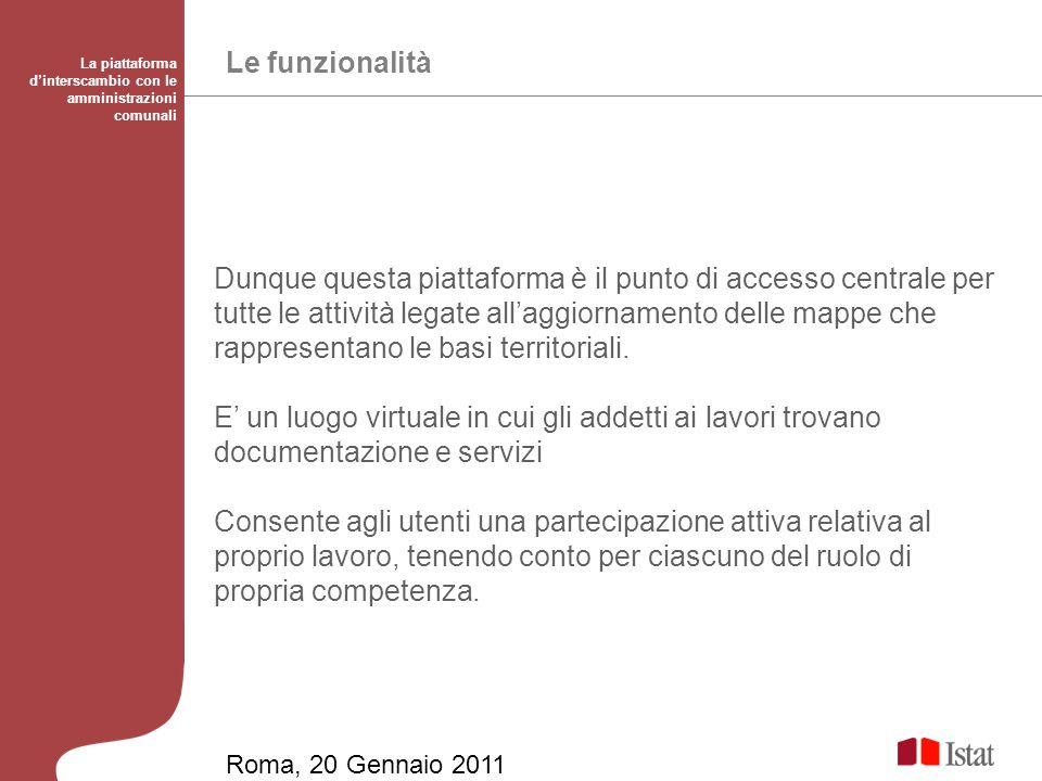 Le funzionalità La piattaforma dinterscambio con le amministrazioni comunali Dunque questa piattaforma è il punto di accesso centrale per tutte le attività legate allaggiornamento delle mappe che rappresentano le basi territoriali.