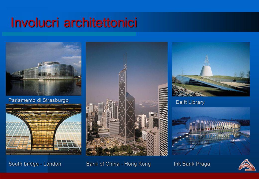 Involucri architettonici Delft Library Ink Bank Praga Parlamento di Strasburgo Bank of China - Hong Kong South bridge - London