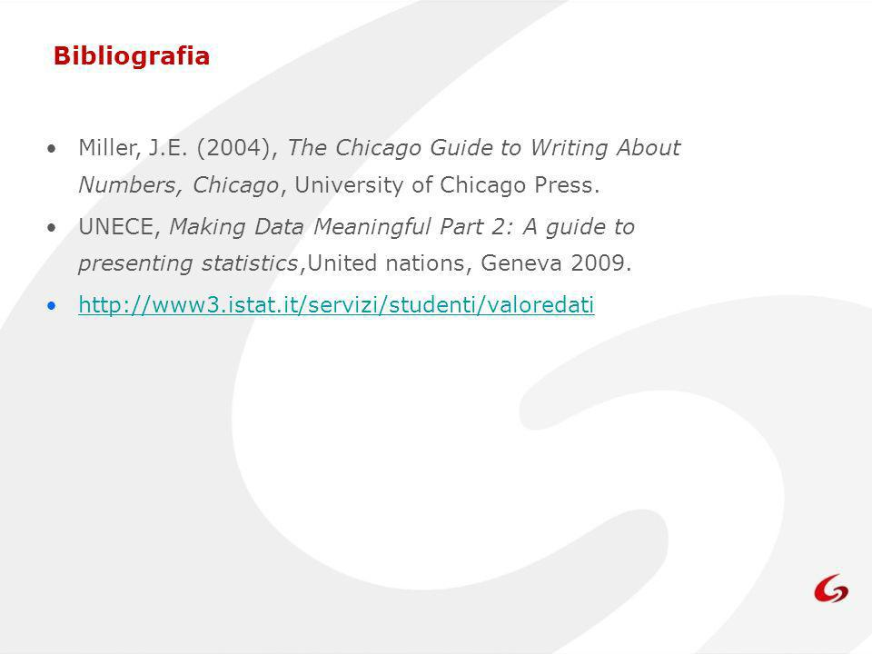 Bibliografia Miller, J.E. (2004), The Chicago Guide to Writing About Numbers, Chicago, University of Chicago Press. UNECE, Making Data Meaningful Part