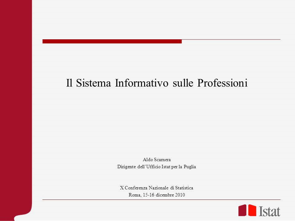 Il Sistema Informativo sulle Professioni Aldo Scarnera Dirigente dellUfficio Istat per la Puglia X Conferenza Nazionale di Statistica Roma, 15-16 dicembre 2010