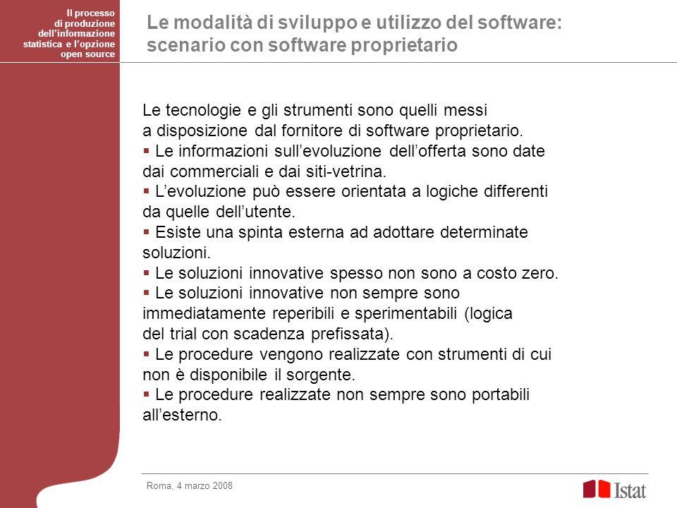Le modalità di sviluppo e utilizzo del software: scenario con software proprietario Le tecnologie e gli strumenti sono quelli messi a disposizione dal fornitore di software proprietario.