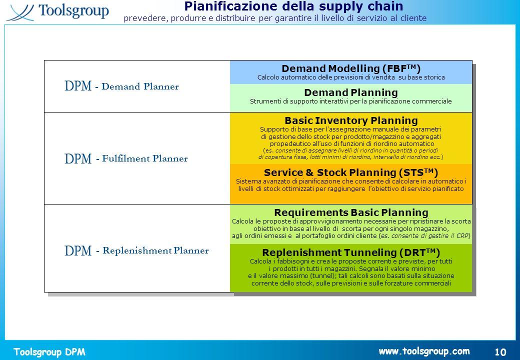 Toolsgroup DPM 10 www.toolsgroup.com Pianificazione della supply chain prevedere, produrre e distribuire per garantire il livello di servizio al clien