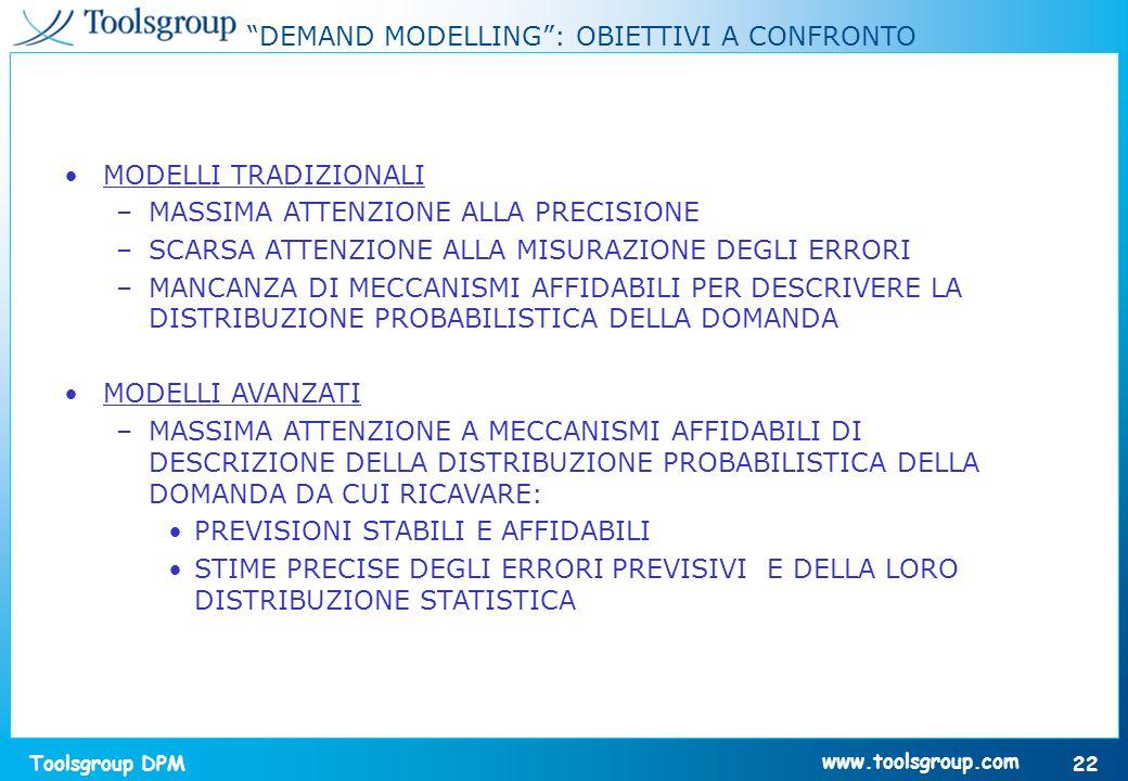 Toolsgroup DPM 22 www.toolsgroup.com DEMAND MODELLING: OBIETTIVI A CONFRONTO MODELLI TRADIZIONALI –MASSIMA ATTENZIONE ALLA PRECISIONE –SCARSA ATTENZIO