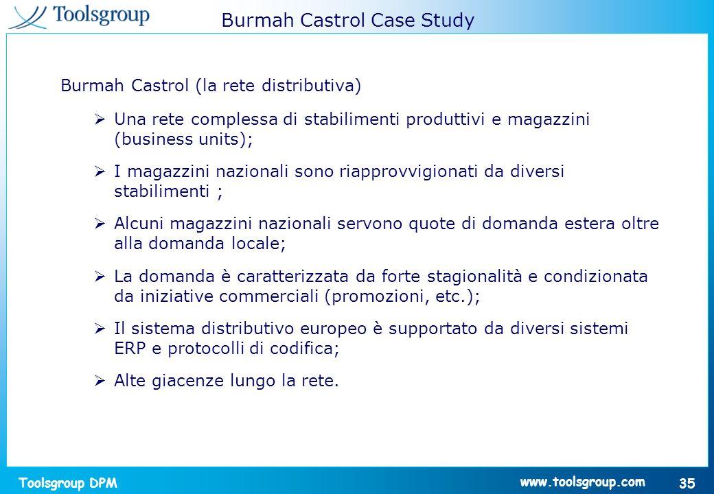 Toolsgroup DPM 35 www.toolsgroup.com Burmah Castrol (la rete distributiva) Una rete complessa di stabilimenti produttivi e magazzini (business units);