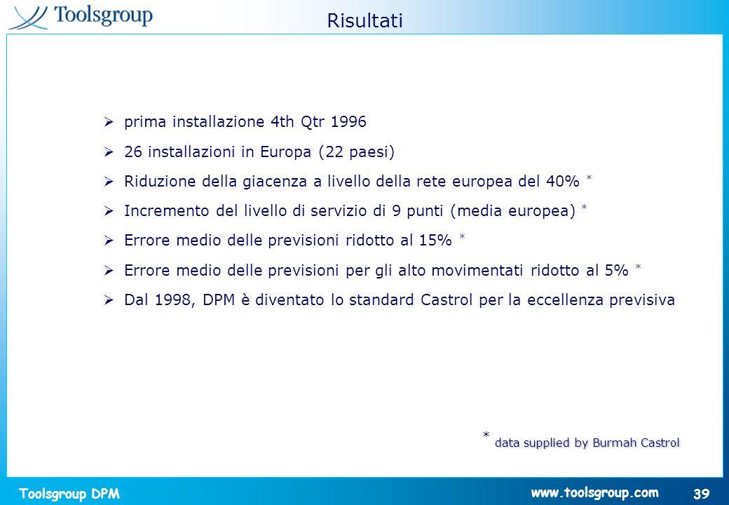 Toolsgroup DPM 39 www.toolsgroup.com prima installazione 4th Qtr 1996 26 installazioni in Europa (22 paesi) Riduzione della giacenza a livello della r