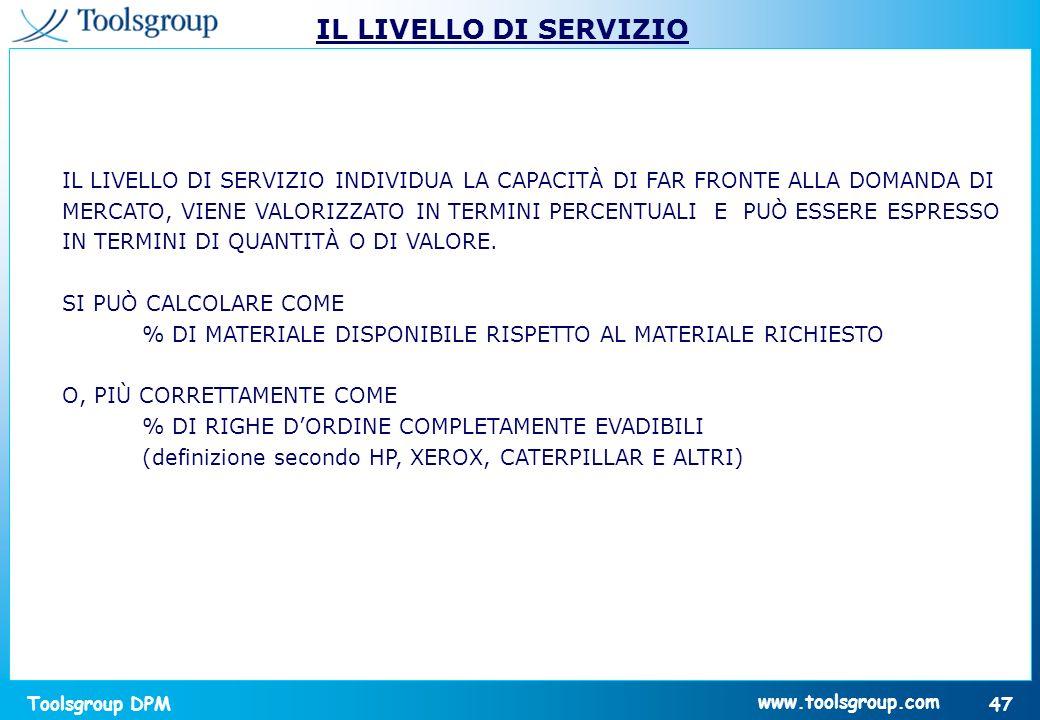 Toolsgroup DPM 47 www.toolsgroup.com IL LIVELLO DI SERVIZIO INDIVIDUA LA CAPACITÀ DI FAR FRONTE ALLA DOMANDA DI MERCATO, VIENE VALORIZZATO IN TERMINI