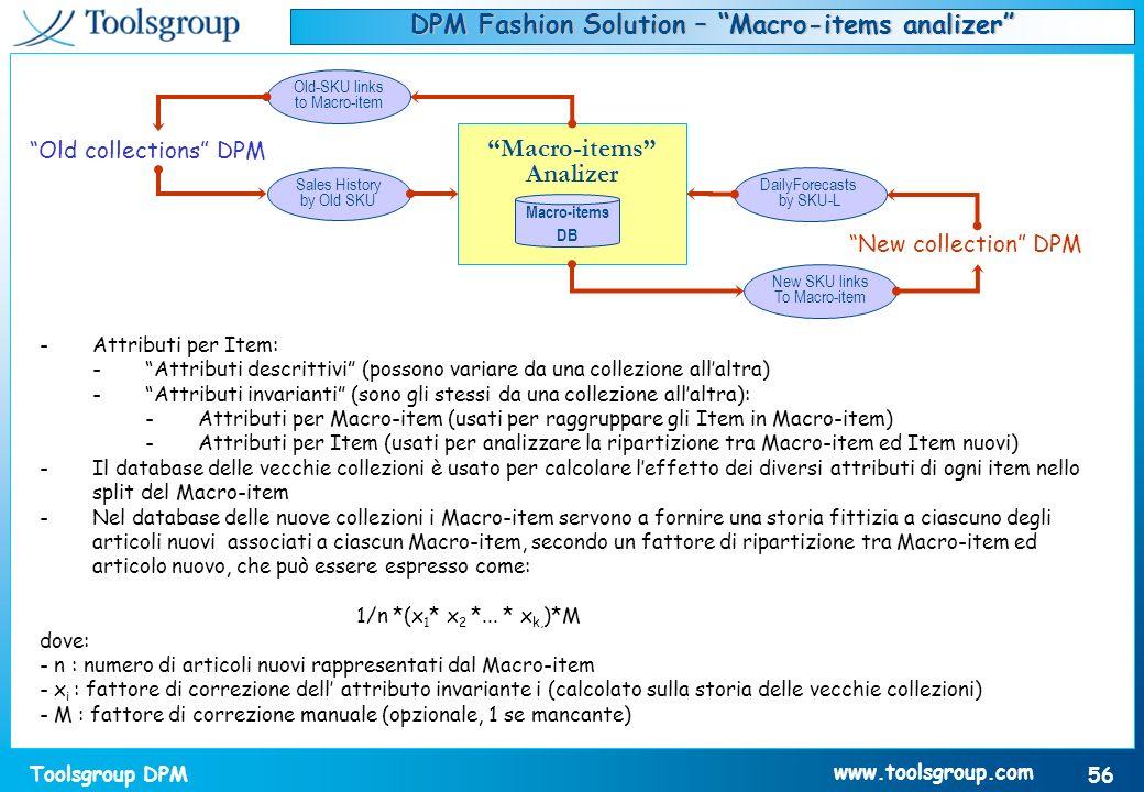 Toolsgroup DPM 56 www.toolsgroup.com -Attributi per Item: -Attributi descrittivi (possono variare da una collezione allaltra) -Attributi invarianti (s