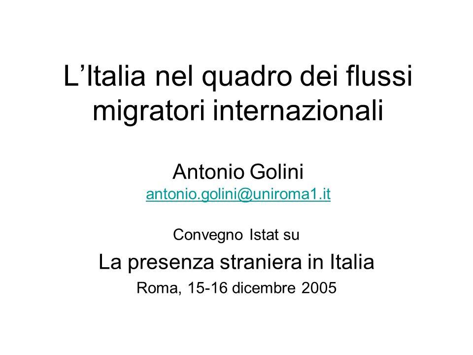 LItalia nel quadro dei flussi migratori internazionali Antonio Golini antonio.golini@uniroma1.it antonio.golini@uniroma1.it Convegno Istat su La prese