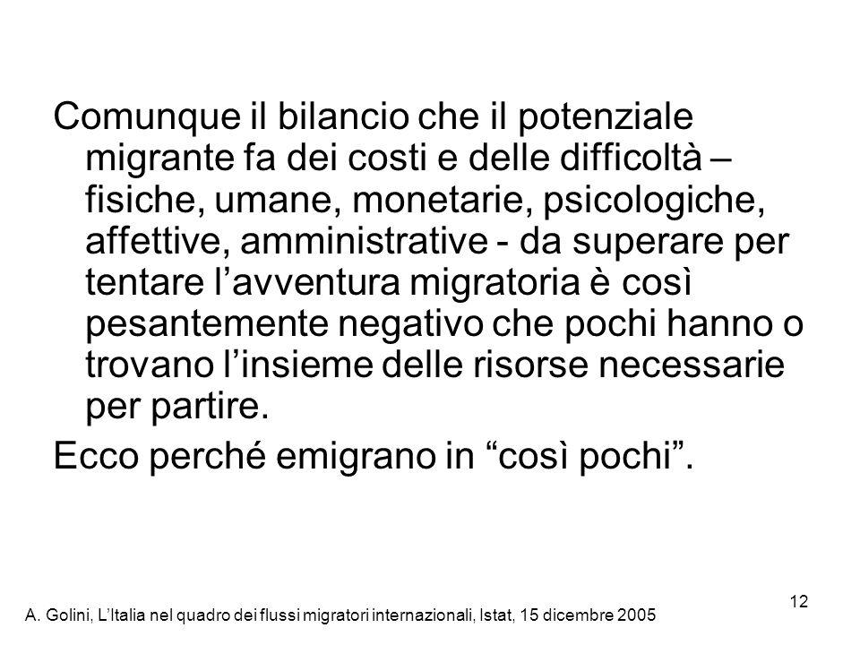 A. Golini, LItalia nel quadro dei flussi migratori internazionali, Istat, 15 dicembre 2005 12 Comunque il bilancio che il potenziale migrante fa dei c