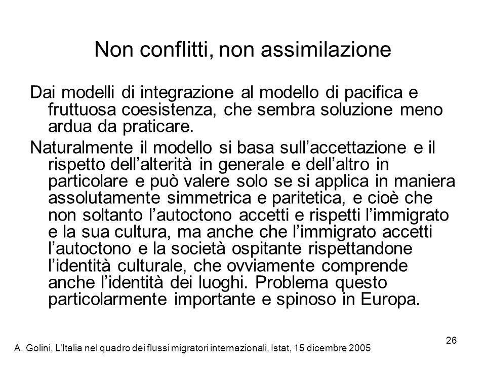 A. Golini, LItalia nel quadro dei flussi migratori internazionali, Istat, 15 dicembre 2005 26 Dai modelli di integrazione al modello di pacifica e fru