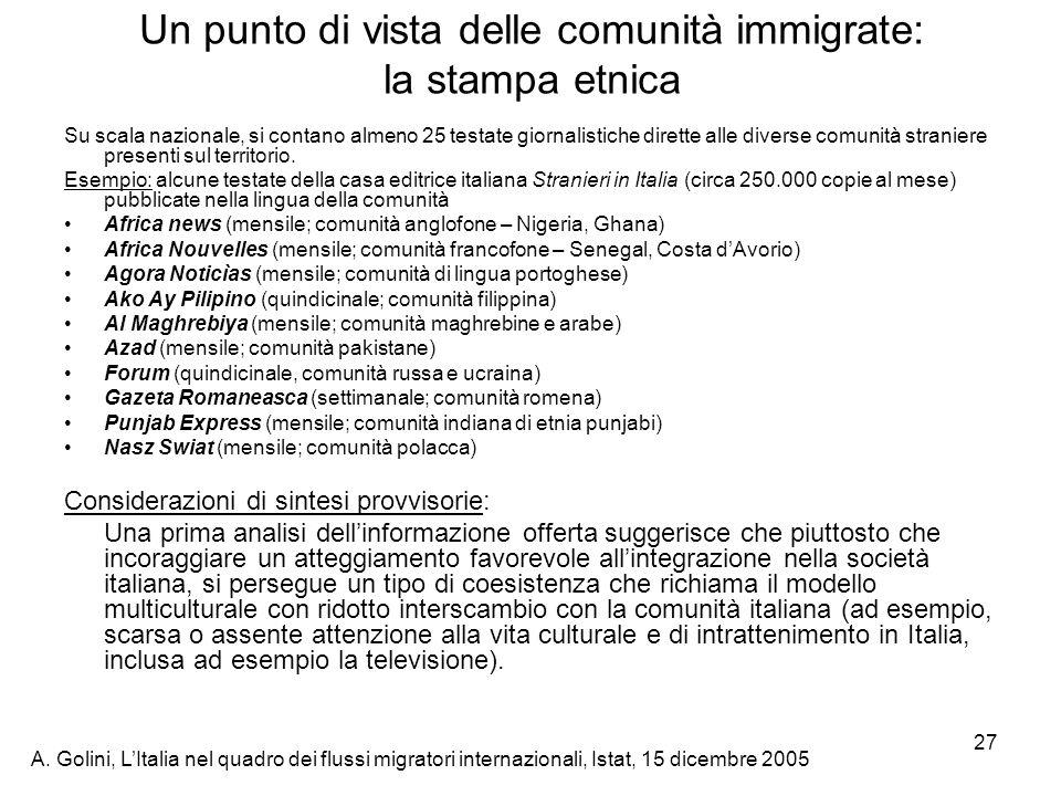 A. Golini, LItalia nel quadro dei flussi migratori internazionali, Istat, 15 dicembre 2005 27 Un punto di vista delle comunità immigrate: la stampa et