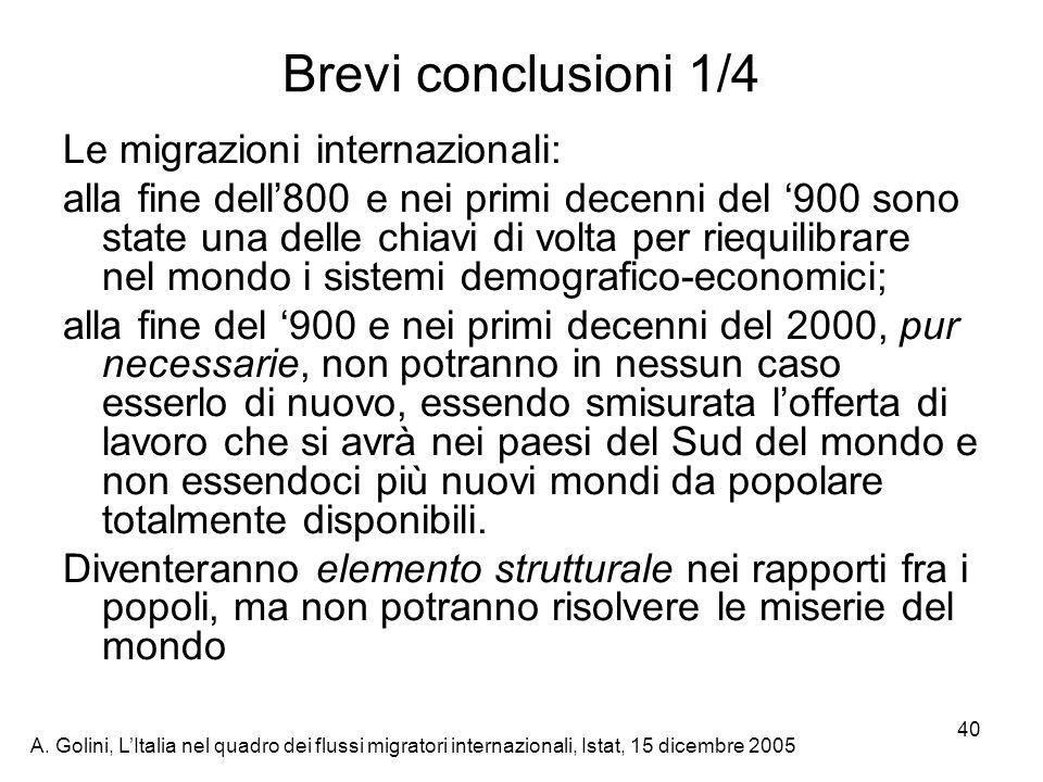 A. Golini, LItalia nel quadro dei flussi migratori internazionali, Istat, 15 dicembre 2005 40 Brevi conclusioni 1/4 Le migrazioni internazionali: alla