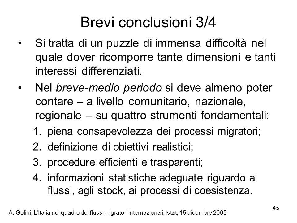 A. Golini, LItalia nel quadro dei flussi migratori internazionali, Istat, 15 dicembre 2005 45 Brevi conclusioni 3/4 Si tratta di un puzzle di immensa