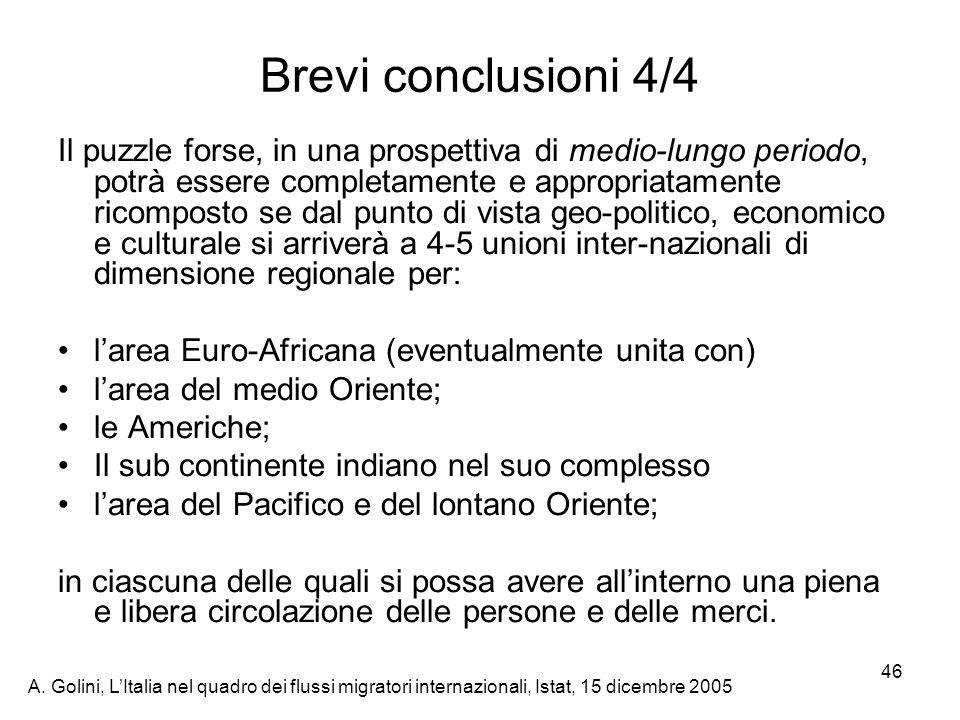 A. Golini, LItalia nel quadro dei flussi migratori internazionali, Istat, 15 dicembre 2005 46 Brevi conclusioni 4/4 Il puzzle forse, in una prospettiv