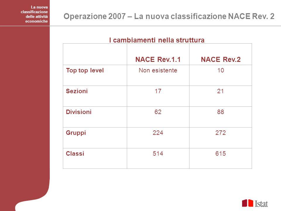 NACE Rev.1.1NACE Rev.2 Top top levelNon esistente10 Sezioni1721 Divisioni6288 Gruppi224272 Classi514615 I cambiamenti nella struttura La nuova classif