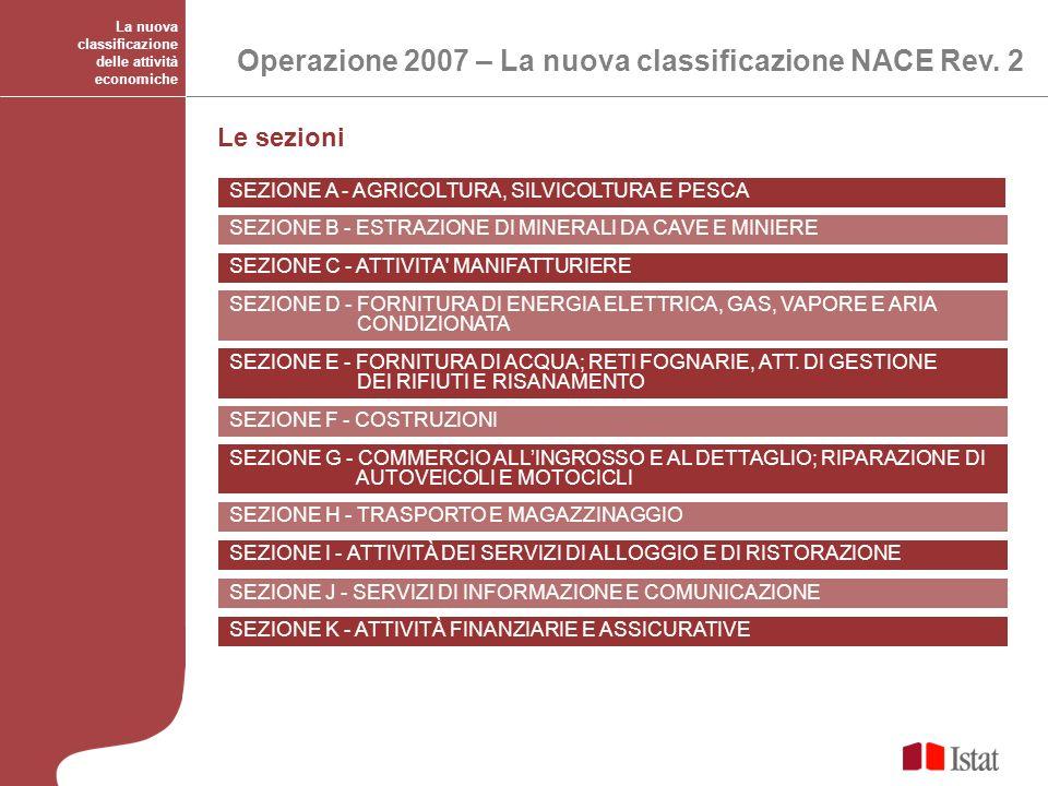 Le sezioni La nuova classificazione delle attività economiche Operazione 2007 – La nuova classificazione NACE Rev. 2 SEZIONE A - AGRICOLTURA, SILVICOL