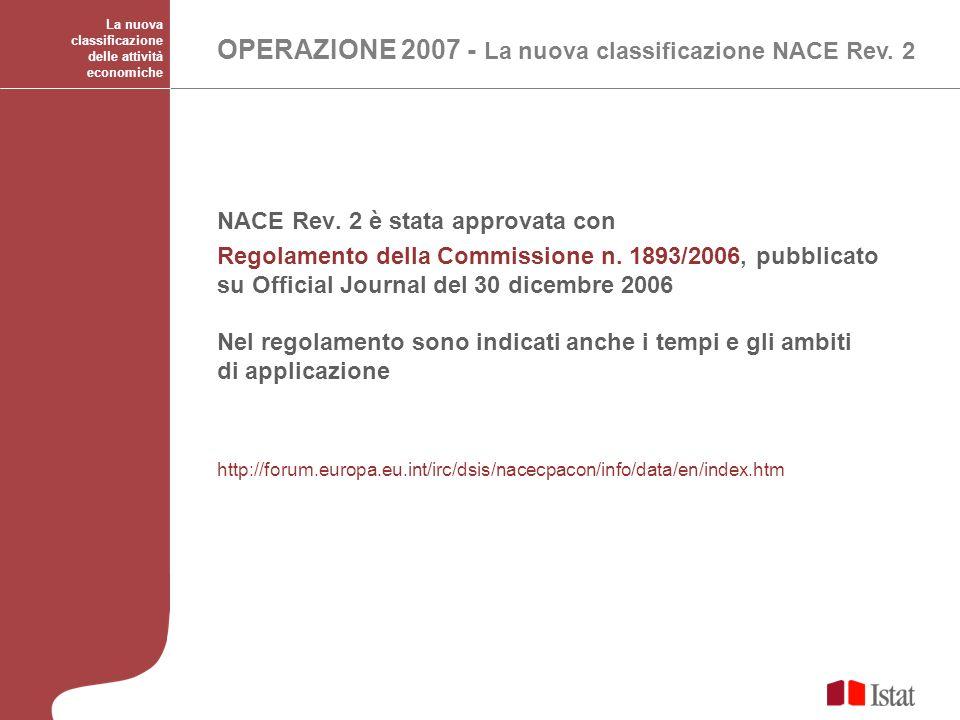 La nuova classificazione delle attività economiche OPERAZIONE 2007 - La nuova classificazione NACE Rev. 2 NACE Rev. 2 è stata approvata con Regolament