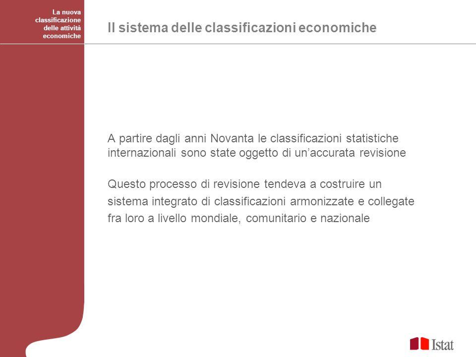 Le classificazioni economiche a livello mondiale La Classificazione internazionale tipo per industrie di tutti i rami di attività economiche delle Nazioni Unite (ISIC Rev.