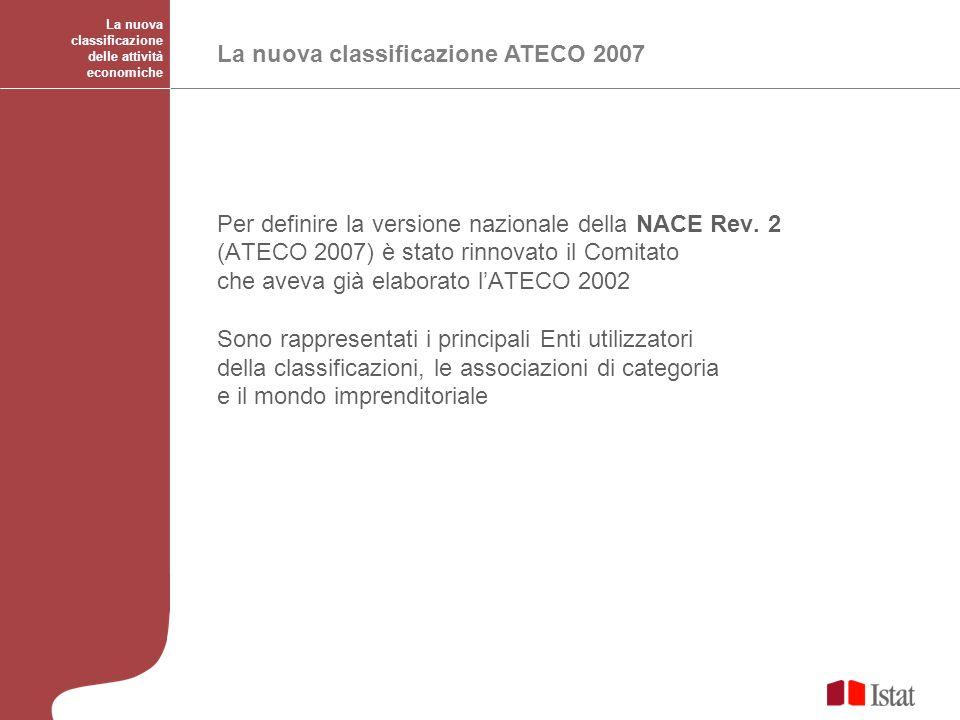 La nuova classificazione delle attività economiche La nuova classificazione ATECO 2007 Per definire la versione nazionale della NACE Rev. 2 (ATECO 200