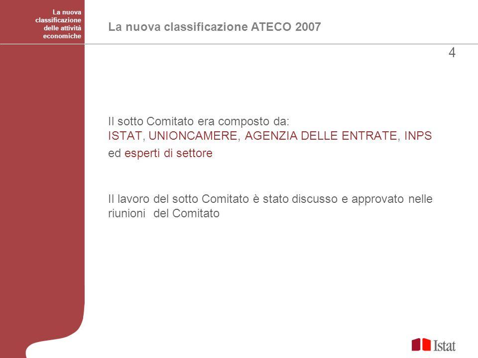 La nuova classificazione delle attività economiche La nuova classificazione ATECO 2007 Il sotto Comitato era composto da: ISTAT, UNIONCAMERE, AGENZIA