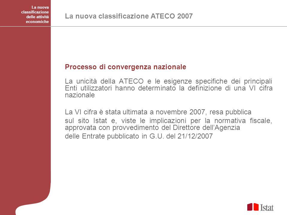 La nuova classificazione delle attività economiche La nuova classificazione ATECO 2007 Processo di convergenza nazionale La unicità della ATECO e le e