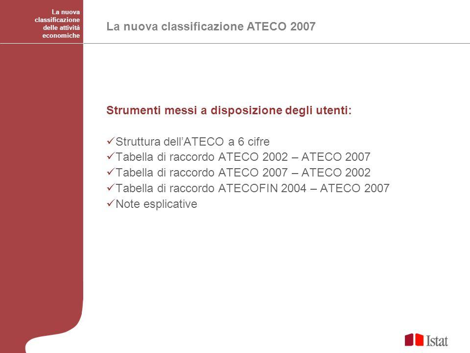 La nuova classificazione delle attività economiche La nuova classificazione ATECO 2007 Strumenti messi a disposizione degli utenti: Struttura dellATEC