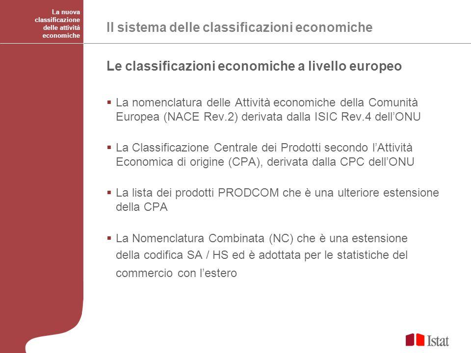Le classificazioni economiche a livello europeo La nomenclatura delle Attività economiche della Comunità Europea (NACE Rev.2) derivata dalla ISIC Rev.