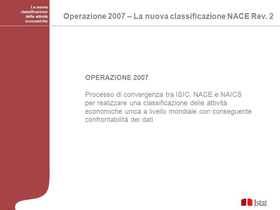 La nuova classificazione delle attività economiche OPERAZIONE 2007 Processo di convergenza tra ISIC, NACE e NAICS per realizzare una classificazione d