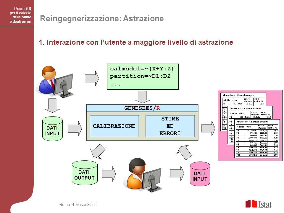 Roma, 4 Marzo 2008 Luso di R per il calcolo delle stime e degli errori Reingegnerizzazione: Astrazione 1.