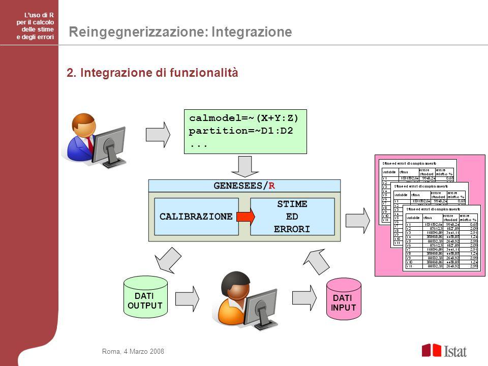 Roma, 4 Marzo 2008 Luso di R per il calcolo delle stime e degli errori Reingegnerizzazione: Integrazione DATI OUTPUT DATI INPUT calmodel=~(X+Y:Z) partition=~D1:D2...