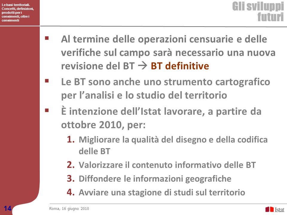 Le basi territoriali. Concetti, definizioni, prodotti per i censimenti, oltre i censimenti Gli sviluppi futuri Roma, 16 giugno 2010 14 Al termine dell