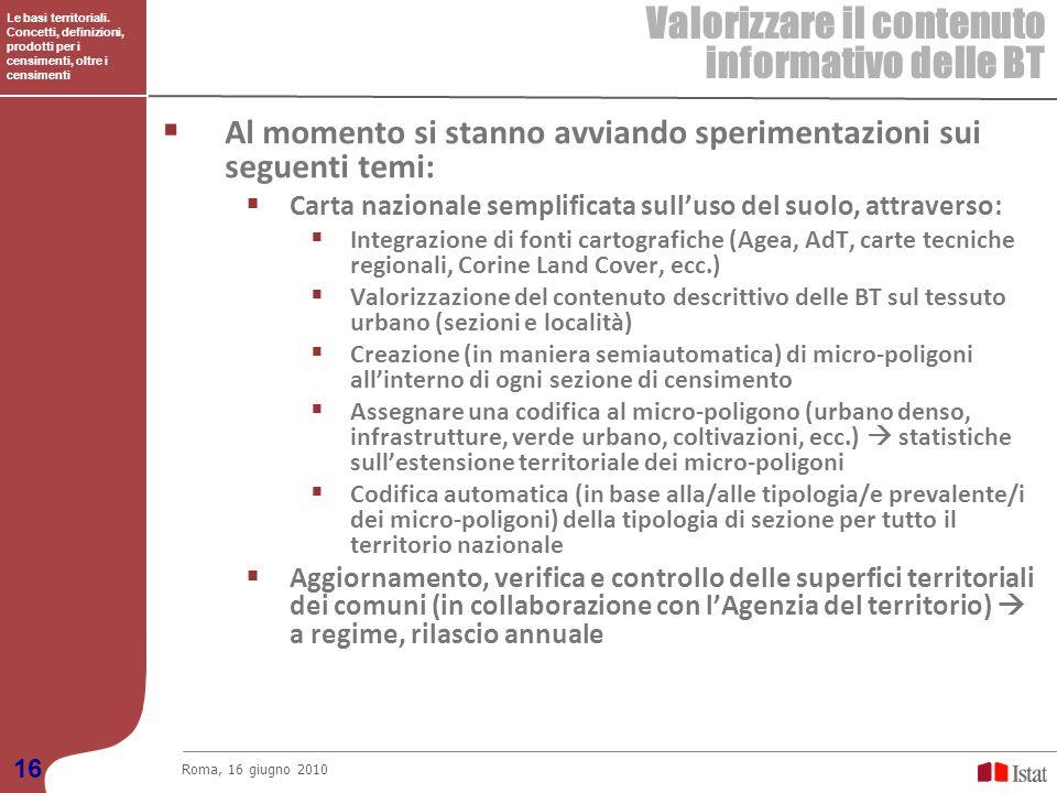 Le basi territoriali. Concetti, definizioni, prodotti per i censimenti, oltre i censimenti Valorizzare il contenuto informativo delle BT Roma, 16 giug