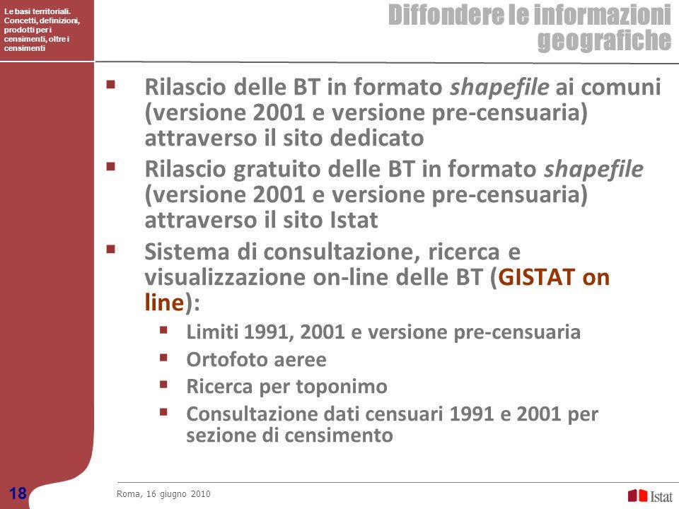 Le basi territoriali. Concetti, definizioni, prodotti per i censimenti, oltre i censimenti Diffondere le informazioni geografiche Roma, 16 giugno 2010