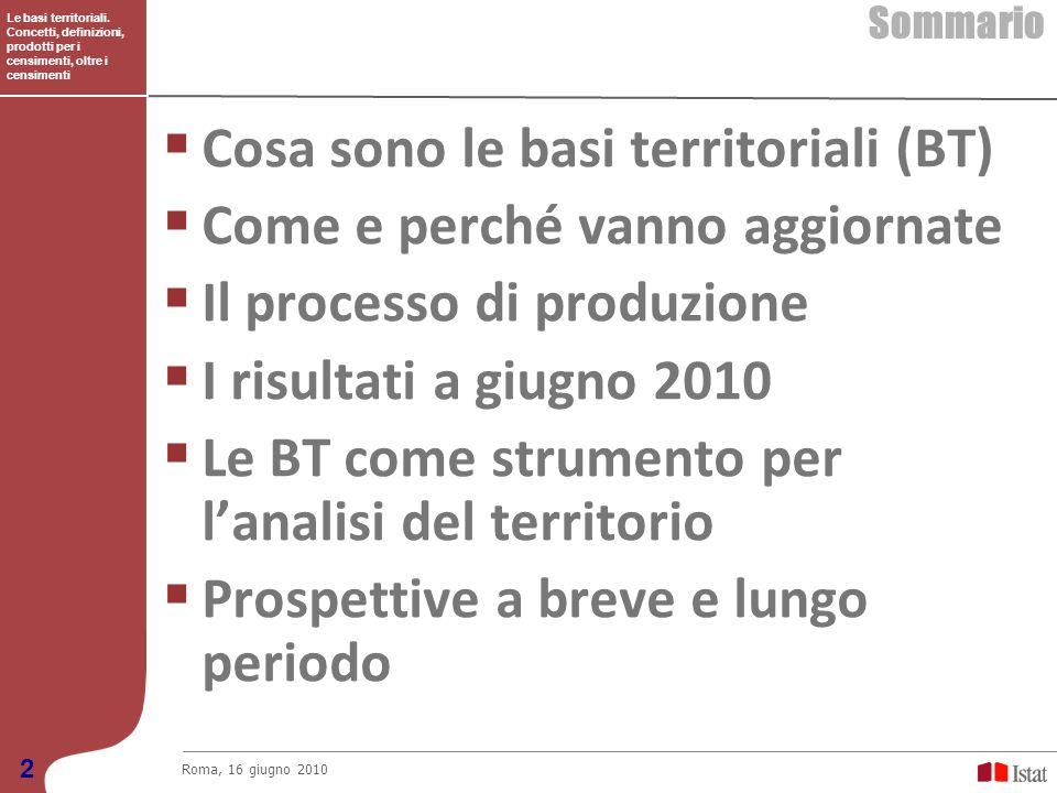 Le basi territoriali. Concetti, definizioni, prodotti per i censimenti, oltre i censimenti Sommario Roma, 16 giugno 2010 2 Cosa sono le basi territori