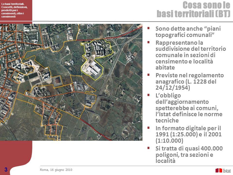 Le basi territoriali. Concetti, definizioni, prodotti per i censimenti, oltre i censimenti Cosa sono le basi territoriali (BT) Roma, 16 giugno 2010 3