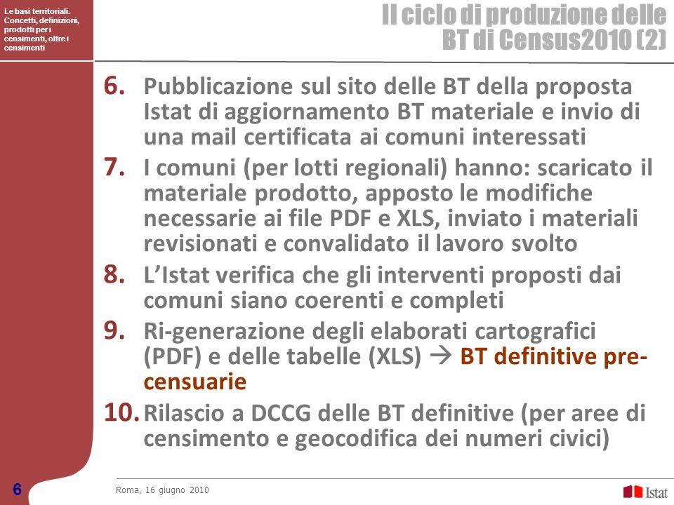 Le basi territoriali. Concetti, definizioni, prodotti per i censimenti, oltre i censimenti Il ciclo di produzione delle BT di Census2010 (2) Roma, 16
