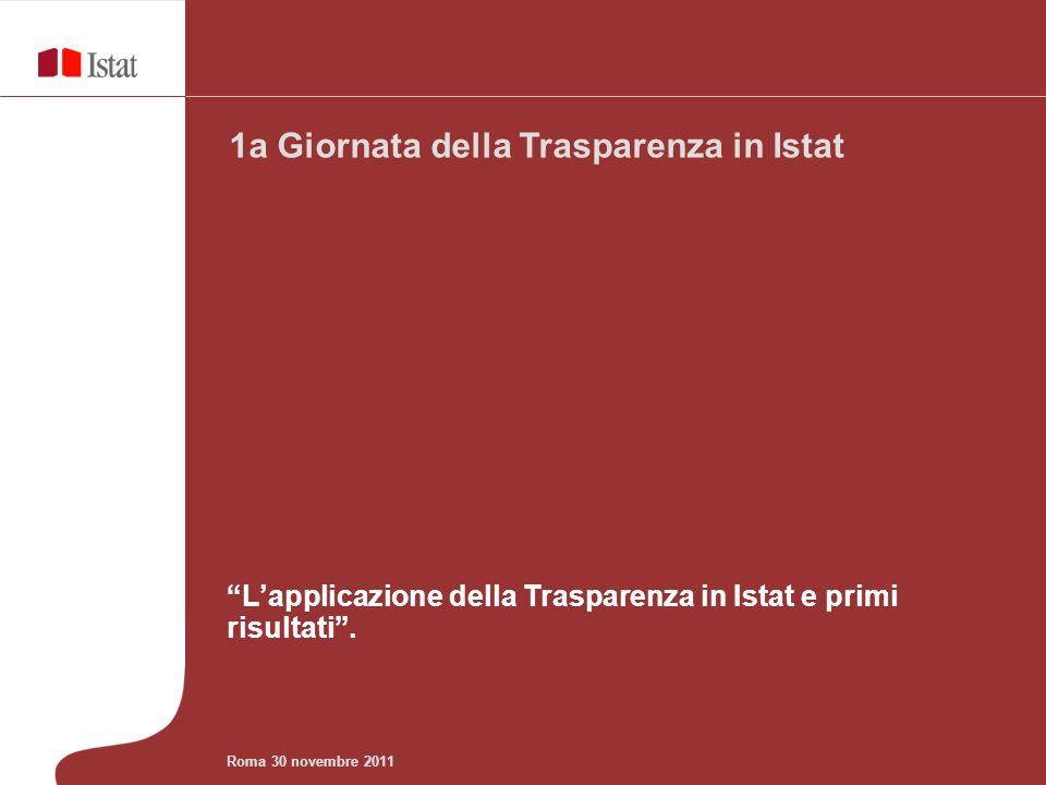 Lapplicazione della Trasparenza in Istat e primi risultati. 1a Giornata della Trasparenza in Istat Roma 30 novembre 2011