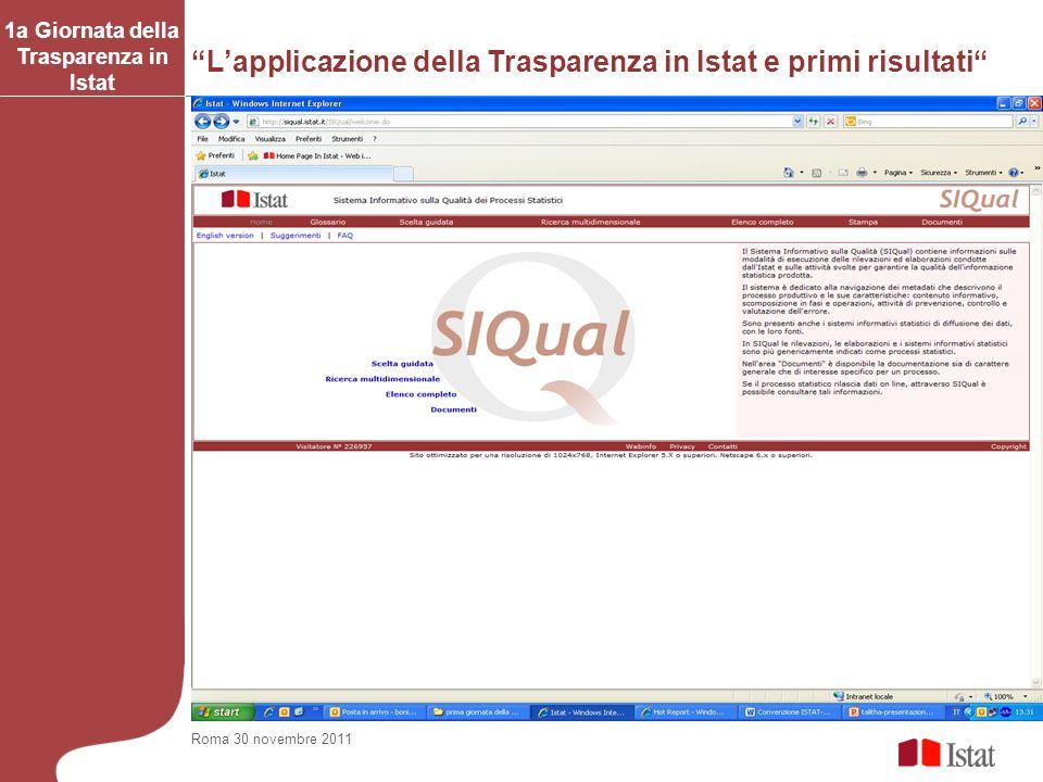 Lapplicazione della Trasparenza in Istat e primi risultati 1a Giornata della Trasparenza in Istat Roma 30 novembre 2011